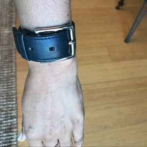Hermès Thick Leather and Silver Bracelet